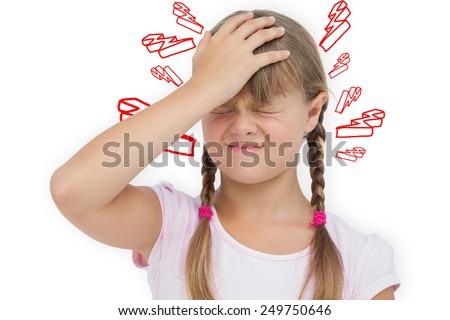 Little girl with headache against lightning bolt - stock photo