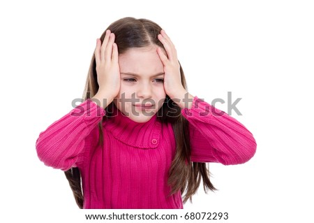 little girl with headache and problems - stock photo