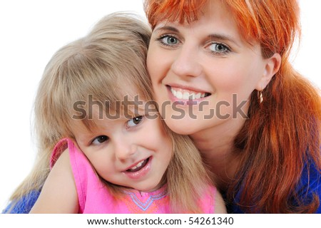 little girl with her mother. Isolated on white background