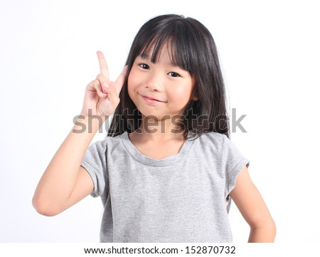 Little girl with her two finger  - stock photo