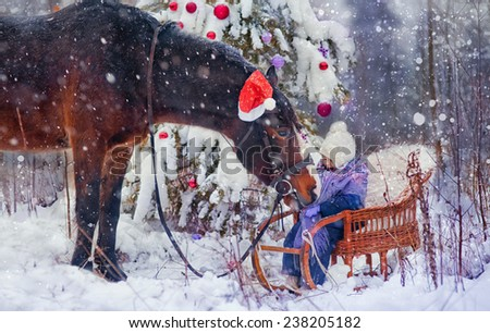 Little girl with horse at christmas eve - stock photo
