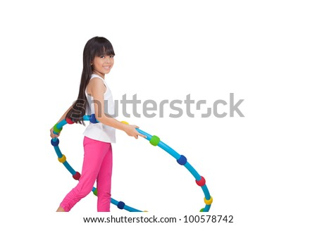 Little girl with hula hoop, Isolated on white - stock photo