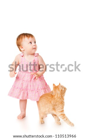Little girl with kitten, isolated on white - stock photo