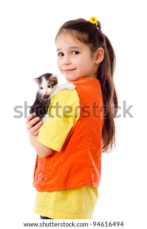 Little girl with kitty in hands, isolated on white