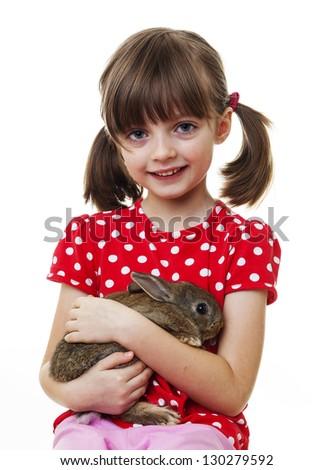 little girl with little easter rabbit - stock photo