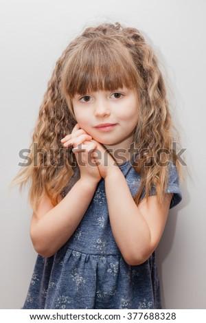 little girl long curly hair bangs stock photo 377688328
