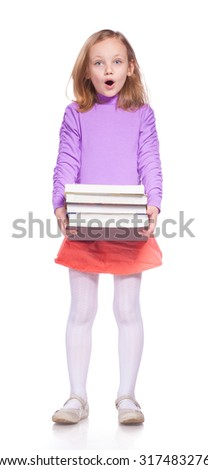 little girl with many books on white - stock photo