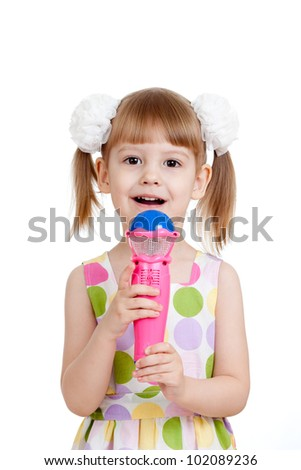 Little girl with microphone toy. Isolated on white background - stock photo
