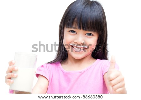Little Girl with Milk - stock photo