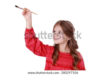 little girl with paintbrush isolated on Art theme/little girl with a brush in hand on a white background - stock photo