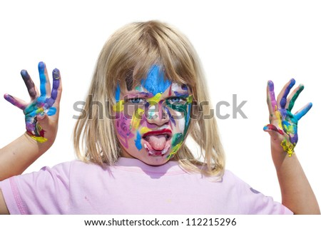 Little girl with paints on hands sticking out her tongue at the camera  Isolated on white.