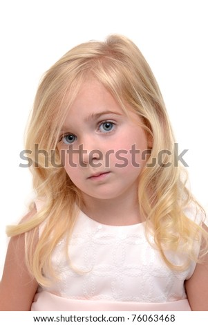little girl with sad expression - stock photo