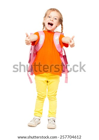 Little girl with schoolbag. Happy child on white - stock photo