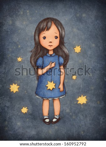 Little Girl With Stars - stock photo