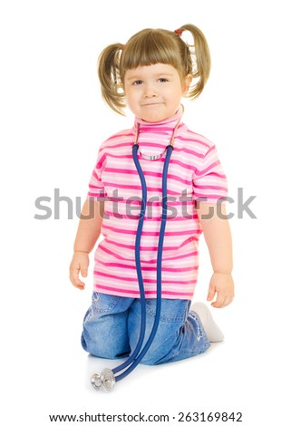 Little girl with stethoscope isolated - stock photo