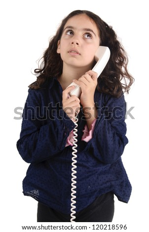little girl with telephone isolated in white - stock photo