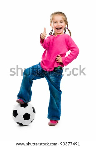Little girl  with the ball over white backgrounf - stock photo
