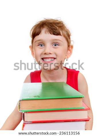 Little Girl with the Books on the White Background