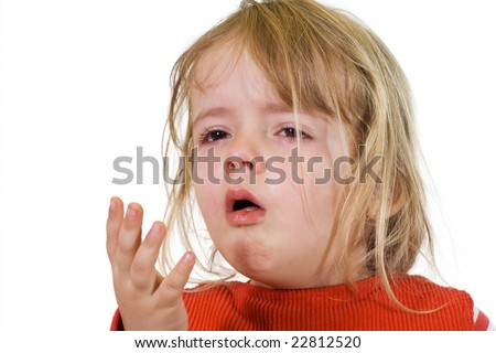 Little girl with the flu - isolated - stock photo