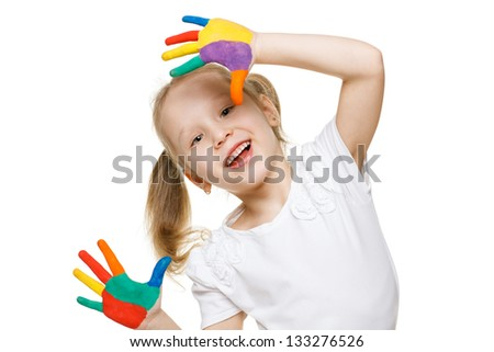 Little girl with the palms painted by a paint - stock photo
