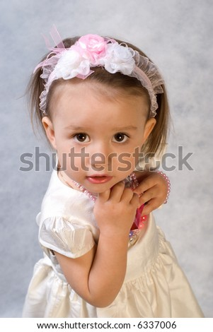 little girl with the perfume - stock photo