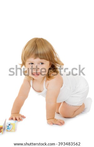 Little girl with toy cubes isolated on white