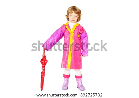 little girl with umbrella over the white - stock photo