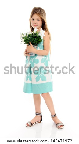 little girl with white flowers