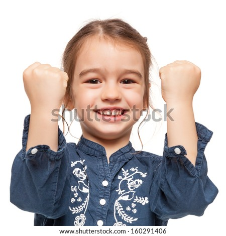 Little Girl with Winner Expression Isolated on White - stock photo