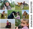 little girls and her purebred dogs outdoors - stock photo