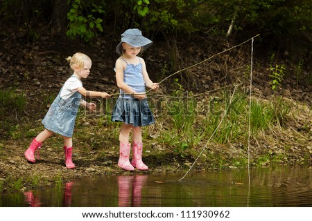 Kids fishing stock images royalty free images vectors for Little kid fishing pole