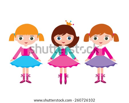 Little girls ballerinas. Lesson at the ballet school. Isolated on white background. - stock photo
