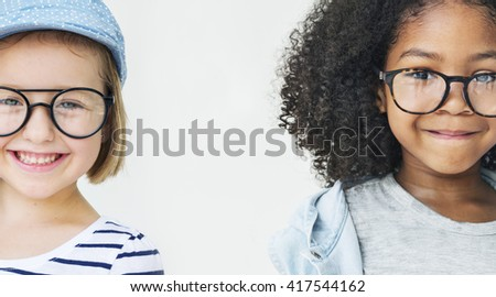 Little Girls Friendship Fun Happiness Retro Togetherness Concept - stock photo