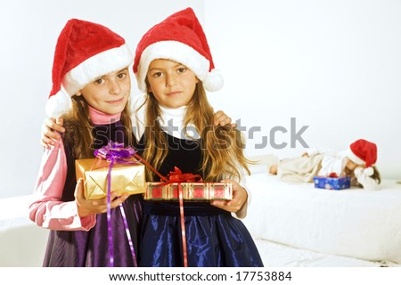 little girls happy after receiving  presents - stock photo