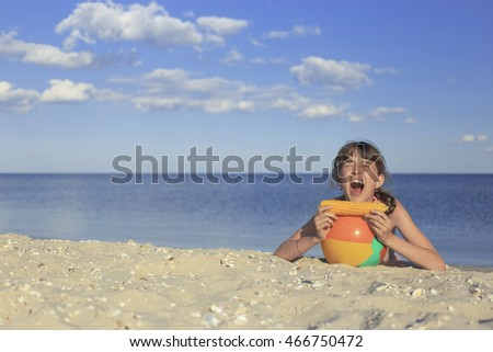 little girls on summer vacation at the seaside.