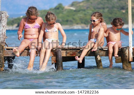 Little girls on the sea