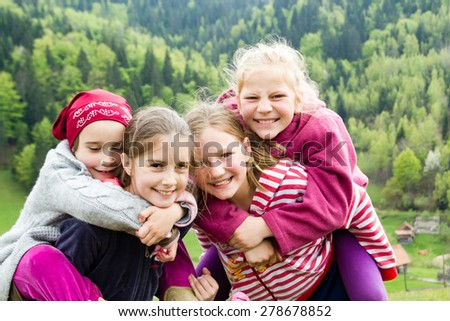 Little girls outdoor - stock photo