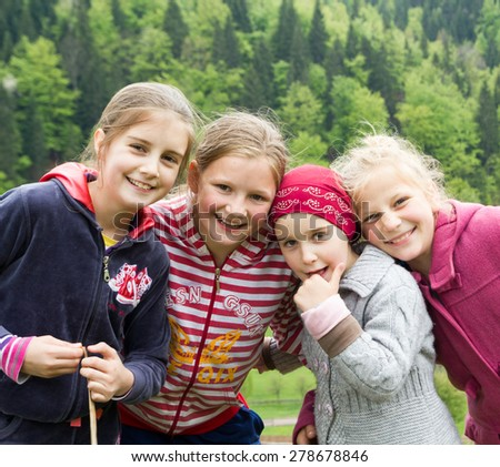 Little girls outdoors - stock photo