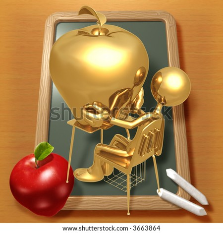 Little Golden Student With Giant Gold Apple Teacher's Pet - stock photo