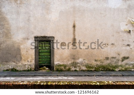 Little green door - stock photo