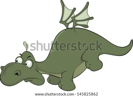 Little green dragon cartoon - stock photo