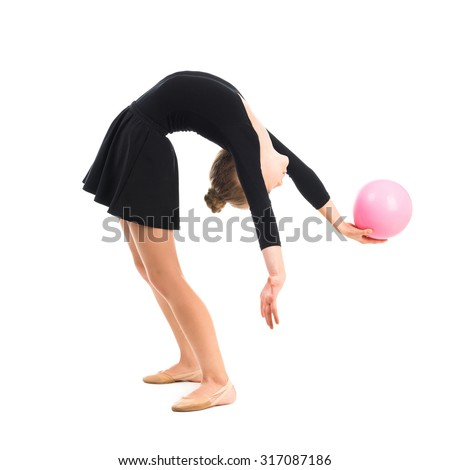 One caucasian woman exercising rhythmic gymnastics with ribbon in - Rhythmic Gymnastics Stock Photos Images Amp Pictures