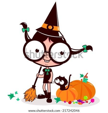 Little Halloween teenager witch sweeping pumpkin leaves. A little witch teenage girl sweeping pumpkin leaves with her broom and her cat on Halloween night. Vector version also available in my gallery. - stock photo