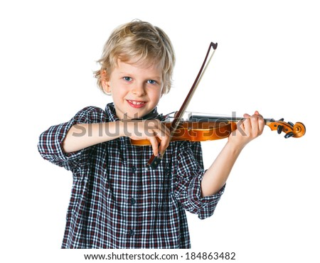 little handsome boy playing the violin isolated on white