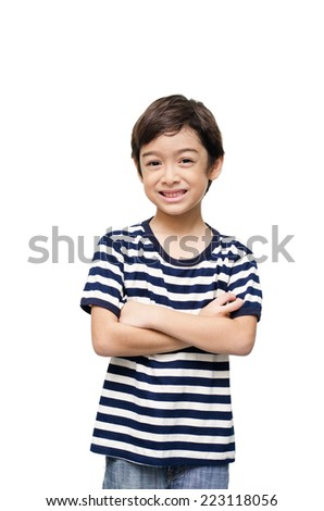 Little happy boy looking at camera portrait - stock photo