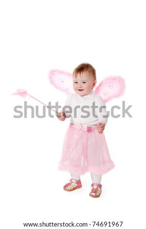 little happy fairy with magic wand isolated