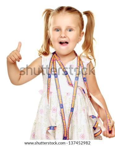 Little happy girl showing ok, isolated on white background - stock photo