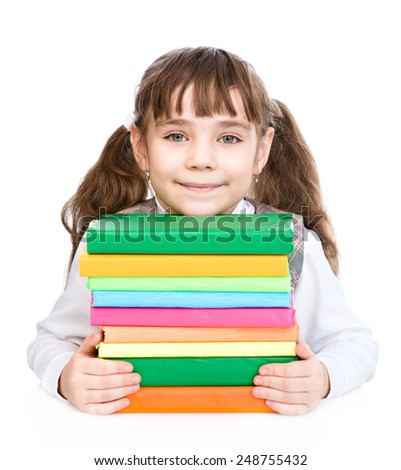 little happy girl with pile books. isolated on white background - stock photo