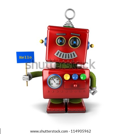 Little happy vintage toy robot holding a hello sign over white background - stock photo