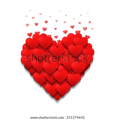 Little hearts form a big heart. Valentine's day concept. - stock photo